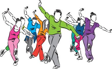 group of dancers fitness illustration (2)