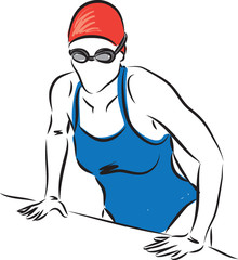 professional swimmer woman getting out of the pool