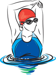 professional woman swimmer stretching illustration