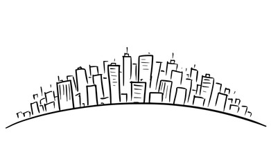 Rough artistic drawing of conceptual cityscape, skyscrapers or modern city on rounded horizon.