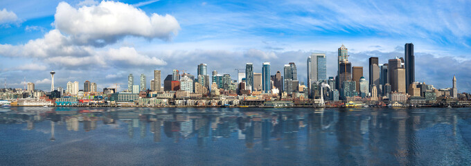 Panoramic Image of the city of Seattle Wall mural