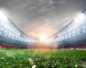 Midfield of grass soccer stadium field with headlights