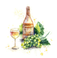 Hand Drawn Bottle of   Wine and Grapes