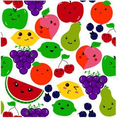 Kawaii Fruit on a white background seamless pattern