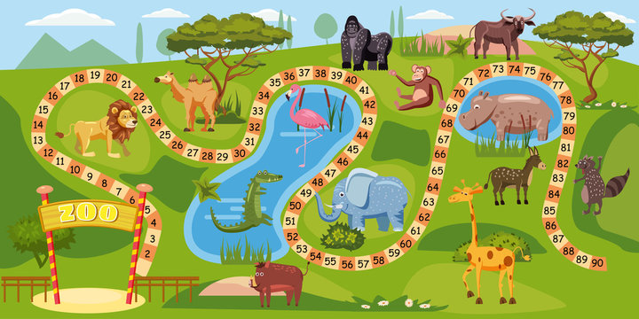 Zoo board game with numbers for children, lion, elephant, flamingo, buffalo, hippopotamus, crocodile, gorilla, camel, boar, vector, template, illustration, isolated