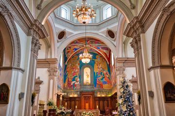 Monterrey, Mexico-11 December, 2018: Monterrey, Macroplaza, Metropolitan Cathedral (Catedral Metropolitana de Monterrey)