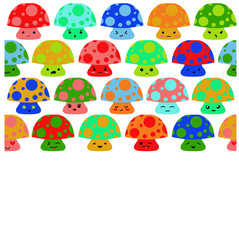 Retro Kawaii Mushrooms with Dots
