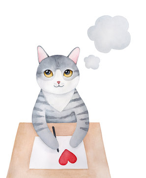 Sweet gray little kitty character sitting at wooden desk, holding black pen in paws, writing love letter, smiling and thinking about beloved moments. Handdrawn watercolour sketchy graphic painting.