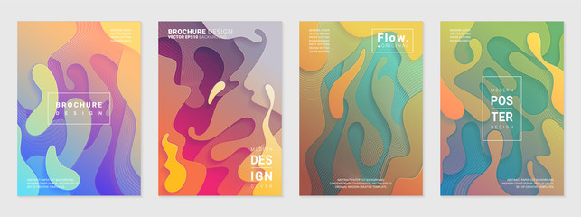 Set of liquid colorful modern covers. Acid fluid gradient shapes. Contemporary futuristic design of posters. Vector illustration.