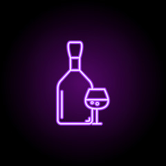 bottle and glass of cognac icon. Elements of Alcohol drink in neon style icons. Simple icon for websites, web design, mobile app, info graphics