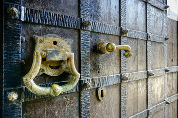 An old door with a lock