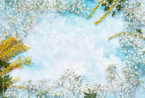 Spring Flowers Background With Mimosa And Gypsophila Copy Space