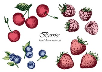 Set of strawberries, raspberries, blueberries and cherries. Hand drawn vector illustration. Isolated elements for design.