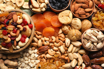 Composition of different dried fruits and nuts, top view