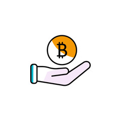 bitcoin, cryptocurrency, hand, finance icon. Element of color finance. Premium quality graphic design icon. Signs and symbols collection icon for websites