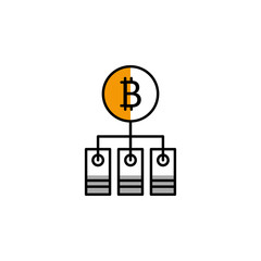 bitcoin, cryptocurrency, block, mining icon. Element of color finance. Premium quality graphic design icon. Signs and symbols collection icon for websites