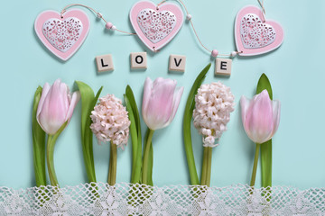 love concept background with flowers and hearts