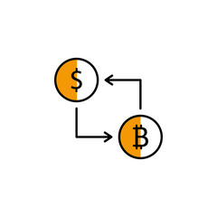 exchange, dollar, bitcoin, cryptocurrency icon. Element of color finance. Premium quality graphic design icon. Signs and symbols collection icon for websites