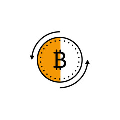 cryptocurrency, arrow, finance, bitcoin icon. Element of color finance. Premium quality graphic design icon. Signs and symbols collection icon for websites