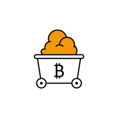 bitcoin, shovel, mining, cryptocurrency icon. Element of color finance. Premium quality graphic design icon. Signs and symbols collection icon for websites