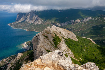 Beautiful view from the top of the mountain on the southern coast of Crimea