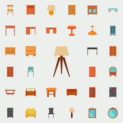 wooden floor lamp flat icon. Furniture icons universal set for web and mobile