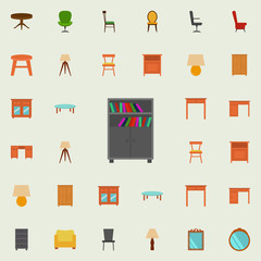 bookcase flat icon. Furniture icons universal set for web and mobile