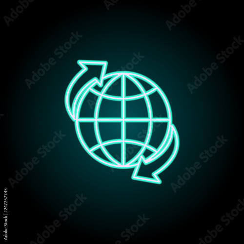 World transport icon  Elements of Logistics in neon style icons