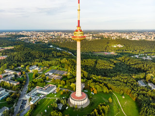 Aerial view of Vilnius TV tower, the tallest structure in Lithuania, occupied by the SC Lithuanian Radio and Television Centre.