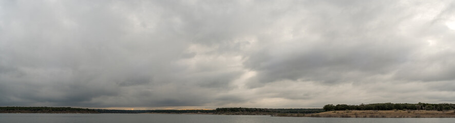 Panoramic View of Dark Storm clouds Over Large Texas Lake