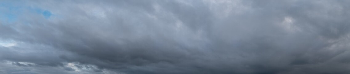 Panoramic View of Dark Storm Clouds During a Winder Day