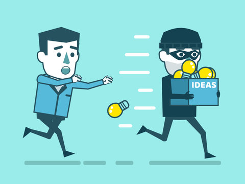 Steal ideas, intellectual property theft concept. Businessman chases thief who stole his ideas. Simple style vector illustration