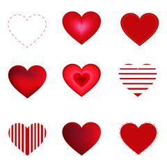 Hearts set isolated on white background
