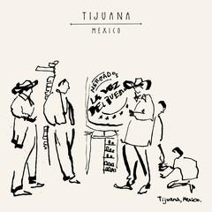 Tijuana, Mexico. Street musicians and a shoe polisher. Travel vntage hand drawn postcard