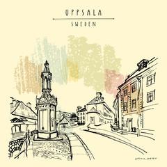 Uppsala, Sweden. Old town. Hand drawn vntage touristic postcard