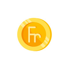 Franc, coin, money color icon. Element of color finance signs. Premium quality graphic design icon. Signs and symbols collection icon for websites, web design