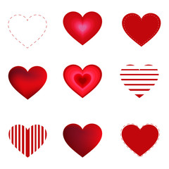 Vector hearts set isolated on white background