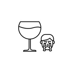 Alcohol, allergic face icon. Element of problems with allergies icon. Thin line icon for website design and development, app development. Premium icon