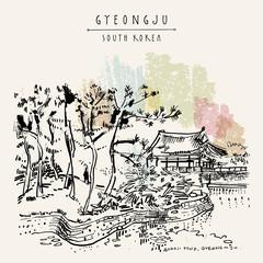 Gyeongju, South Korea, Asia. Donggung palace and Wolji pond (Anapji pond). Hand drawn postcard
