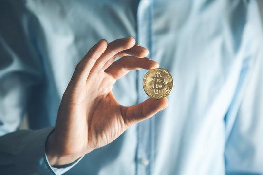man hand bitcoin