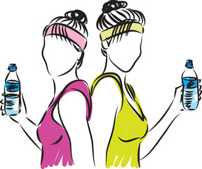 fitness women with bottle of water vector illustration