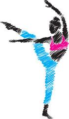woman dancer illustration brush style vector illustration