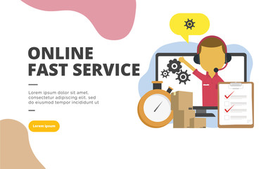 Online Fast Service flat design banner illustration concept for digital marketing and business promotion