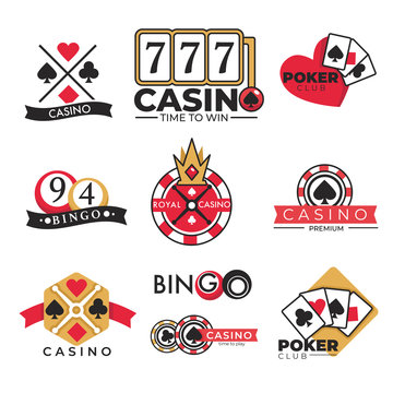 Casino club gambling poker and bingo isolated icons