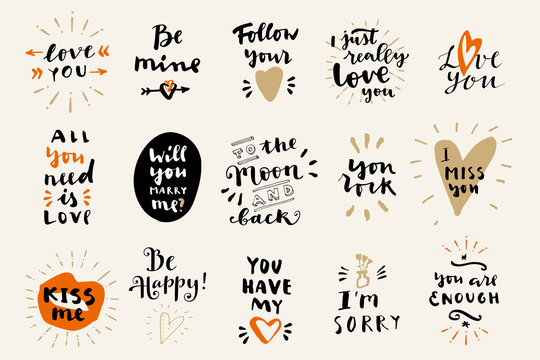 Set of Love vintage hand drawn calligraphic quotes