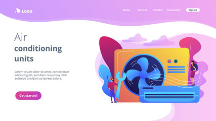 Air conditioner repair worker with wrench, service and maintenance. Air conditioning, smart cooling system, air conditioning units concept. Website vibrant violet landing web page template.