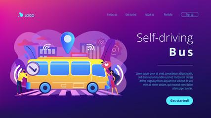 Passengers like and approve autonomos robotic driverless bus. Autonomous public transport, self-driving bus, urban transport services concept. Website vibrant violet landing web page template.