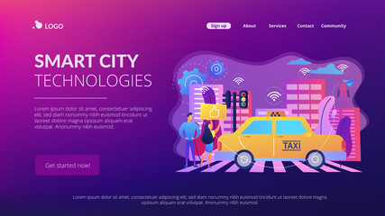 City using intelligent transportation system technologies. Intelligent transportation system, traffic management, smart city technologies concept. Website vibrant violet landing web page template.