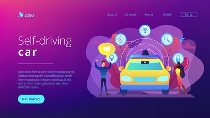 Businessman likes autonomous driverless car with smart technology icons. Autonomous driving, self-driving car, future transport system concept. Website vibrant violet landing web page template.