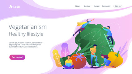 People taking care of vegetables. Vegetarianism, healthy lifestyle landing page. Veggie recipe, vegetarian diet, meat abstaining, eco friendly, violet palette. Vector illustration on background.